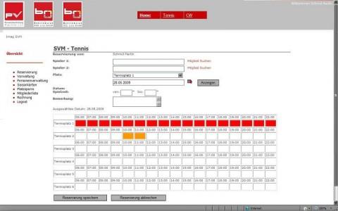 Tennis- und Fitnessgeräte-Reservierungssystem für den SV des Magistrates Linz