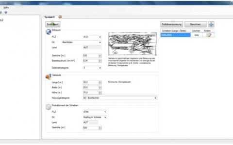 Berechnungsprogramm für Glas- und Profilstatik